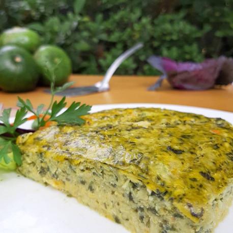 Soufflé de verduras con ensalada del bosque